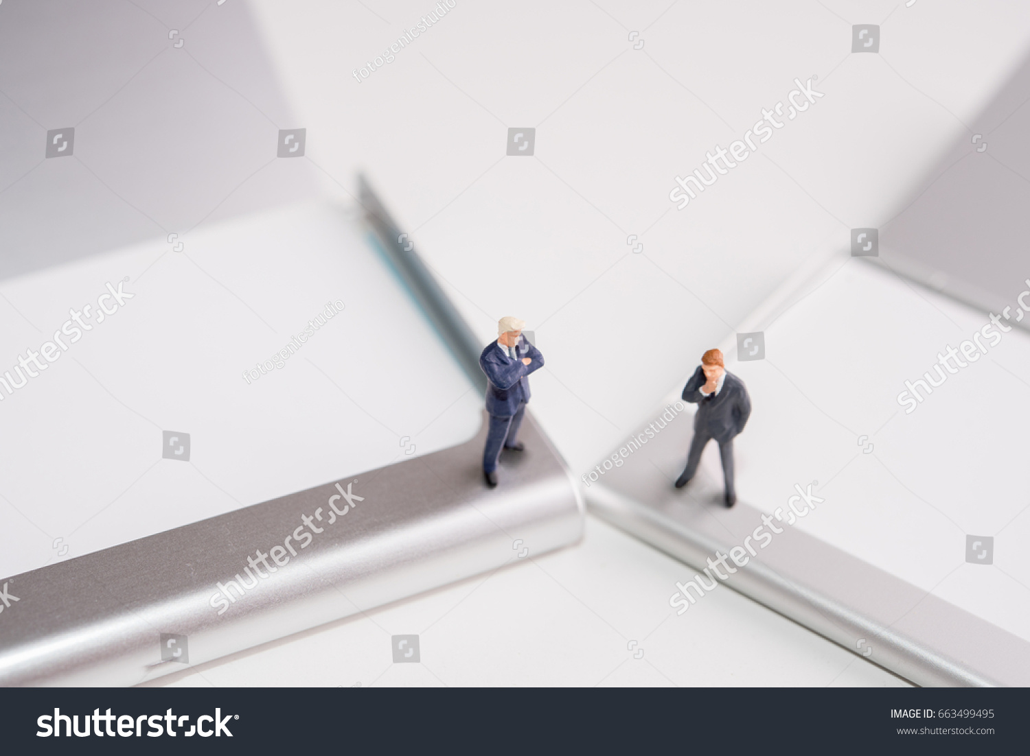 Miniature Figure Business Man Stand On Stock Photo 663499495 ...