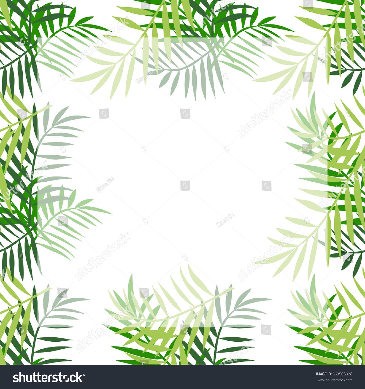 Palm Tree Leaves Frame Border Tropical Stock Vector Royalty Free 663503038 Tropical black leaves on dark background vector. https www shutterstock com image vector palm tree leaves frame border tropical 663503038