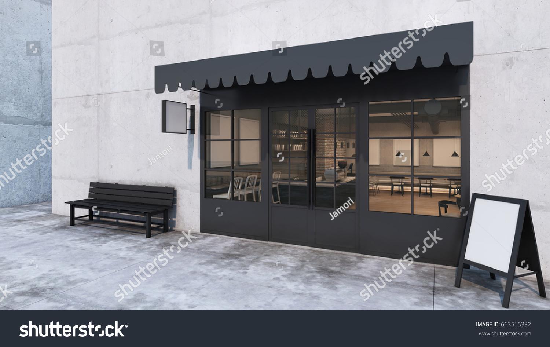 front view cafe shop restaurant design modern loft counter steel black top counter