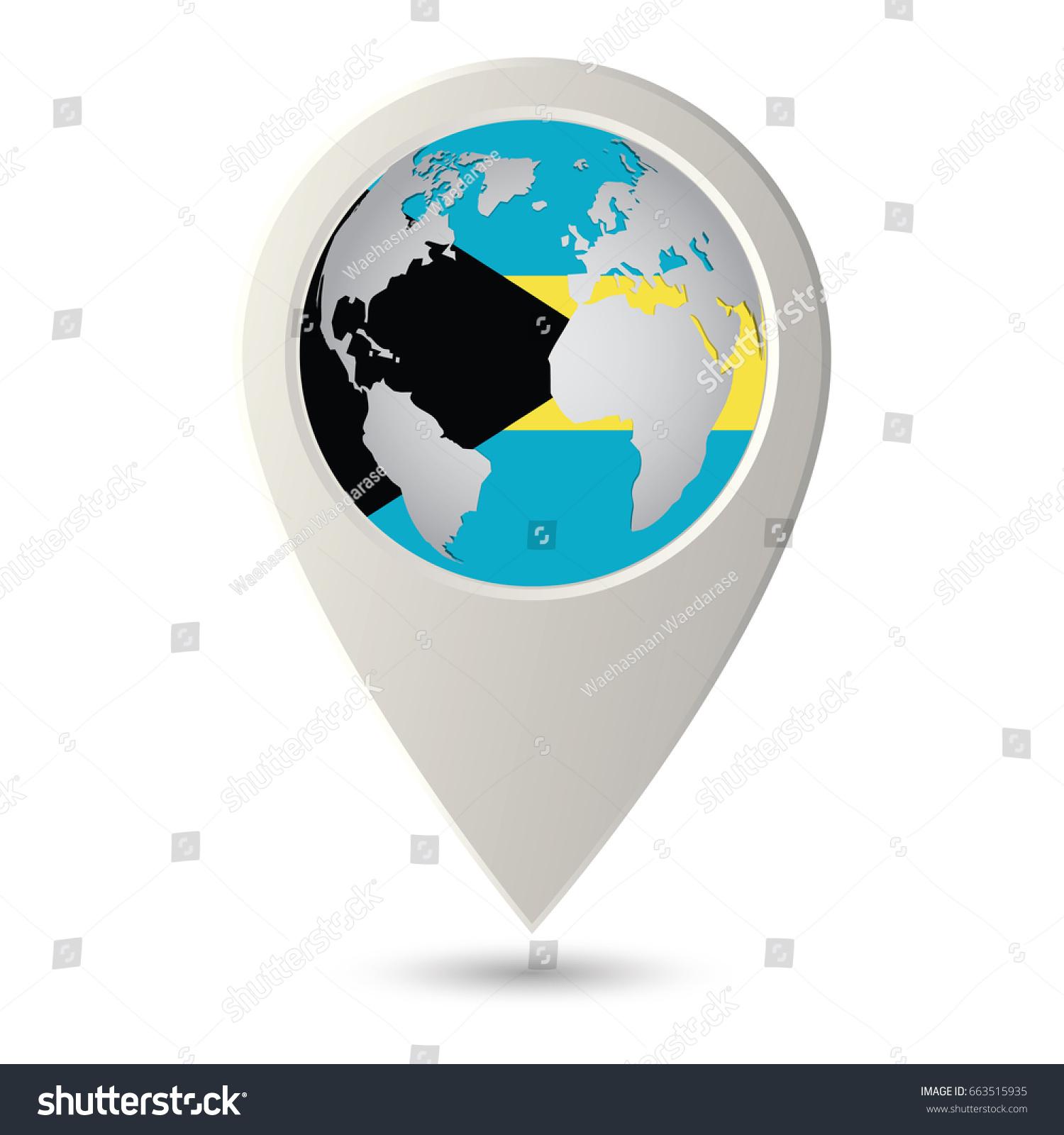 Bahamas Flag Location Map Icon Check Stock Vector 663515935