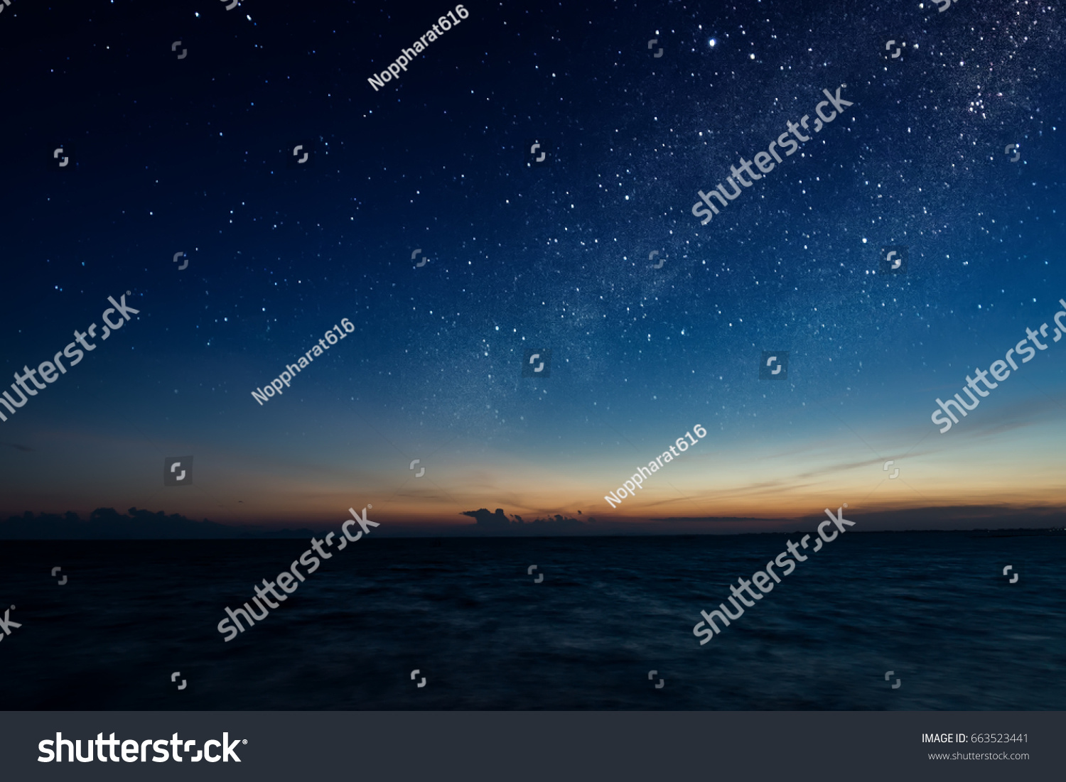 The sky with star at the lake in the twilight after sunset. #663523441