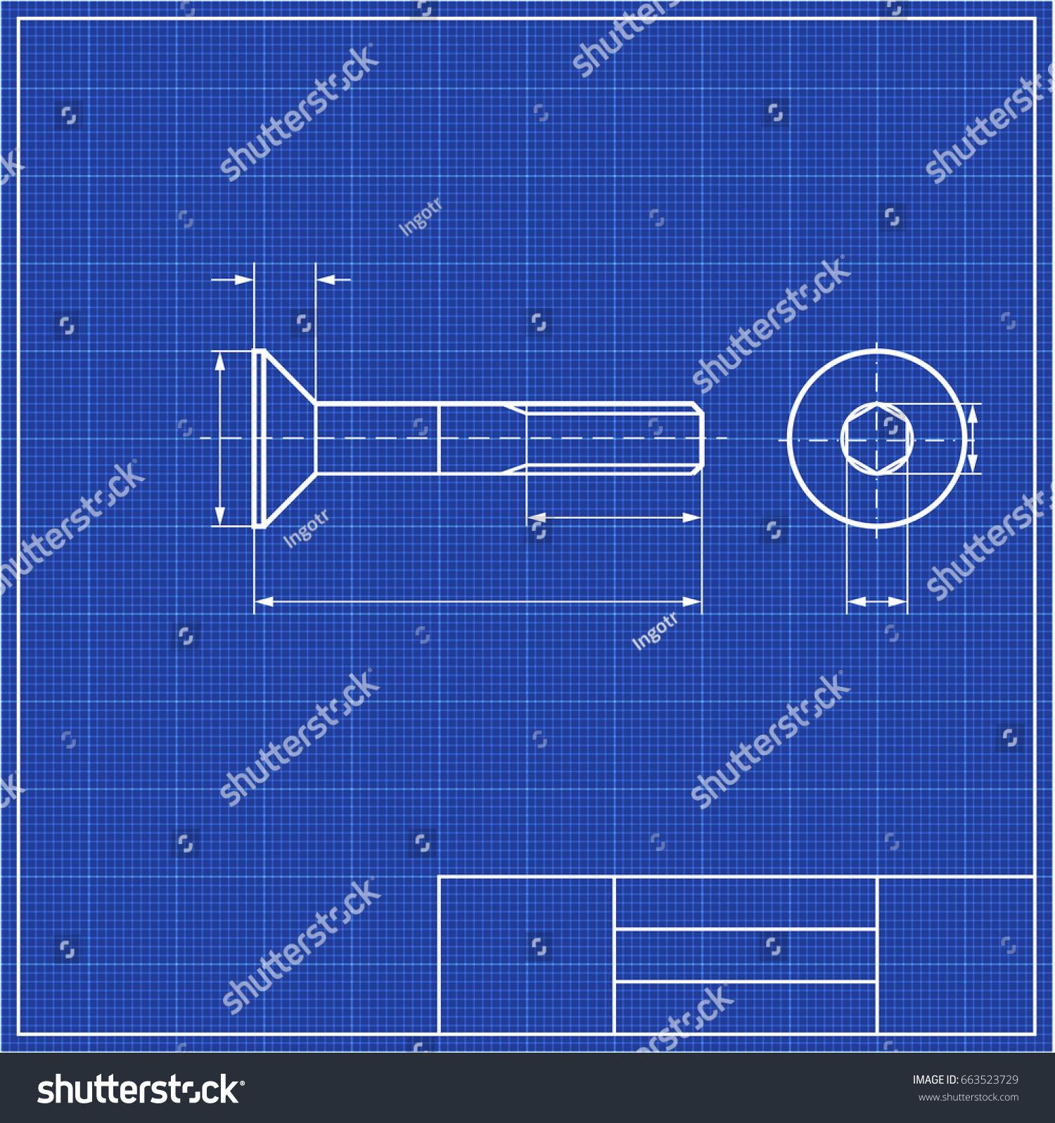 Blueprint screw profile hidden hex framework stock photo photo blueprint screw profile with hidden hex and framework scale blueprints mechanical engineering drawings of malvernweather Image collections
