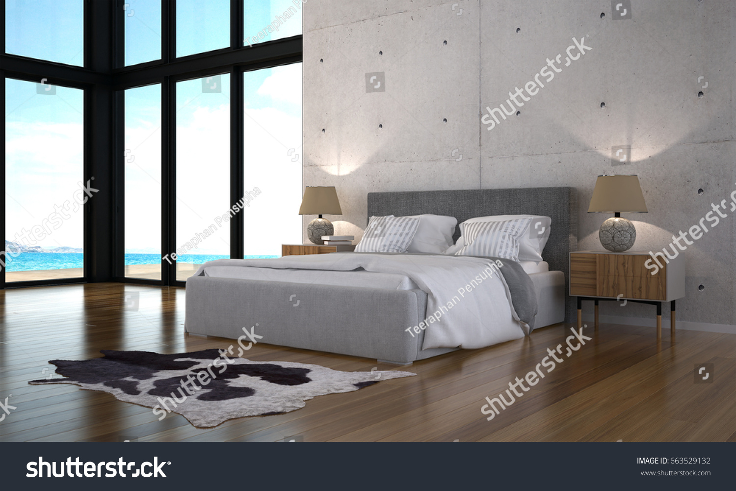 D rendering modern loft bedroom design stockillustration