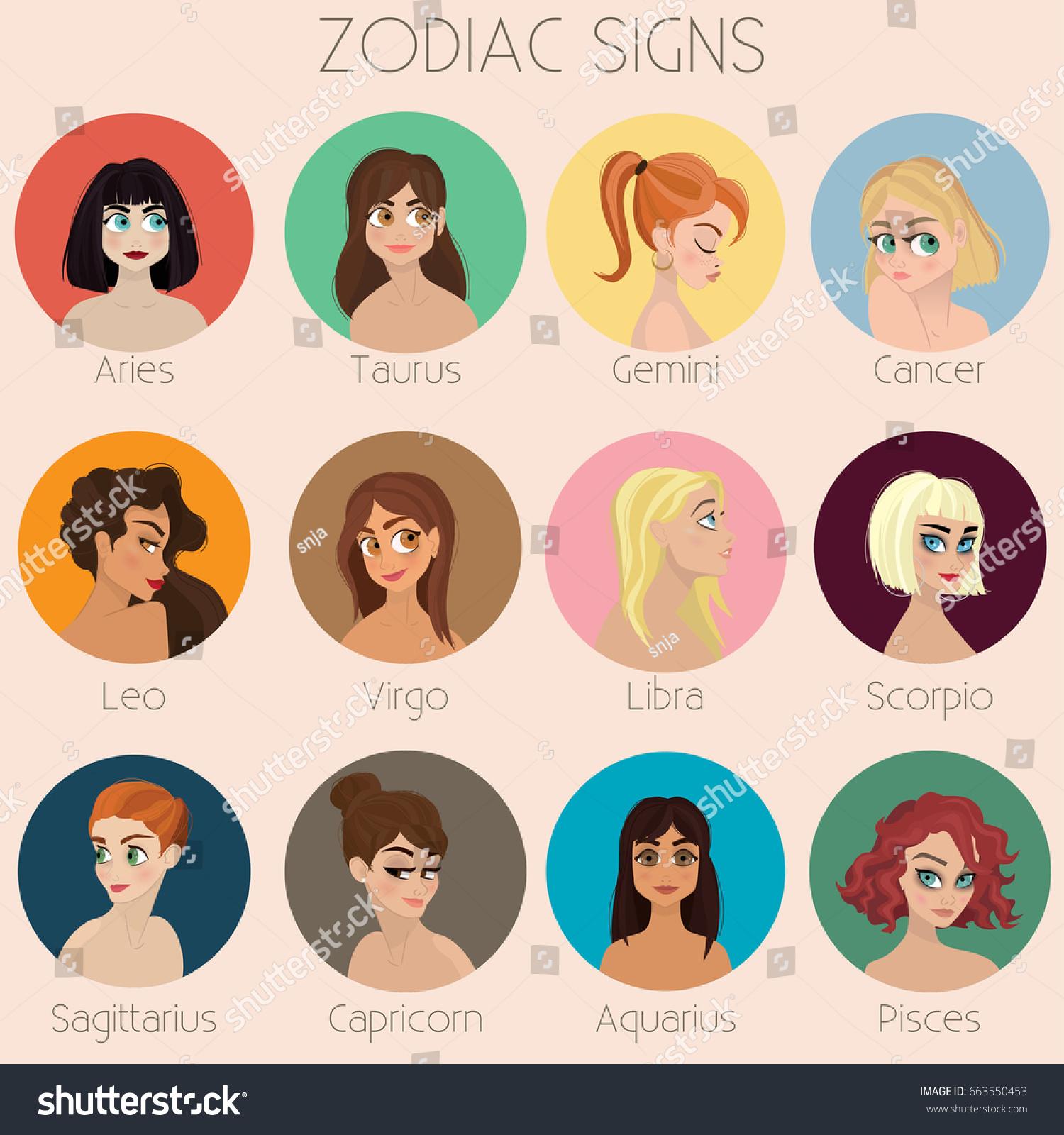 zodiac signs girls illustrations horoscope vector stock-vektorgrafik