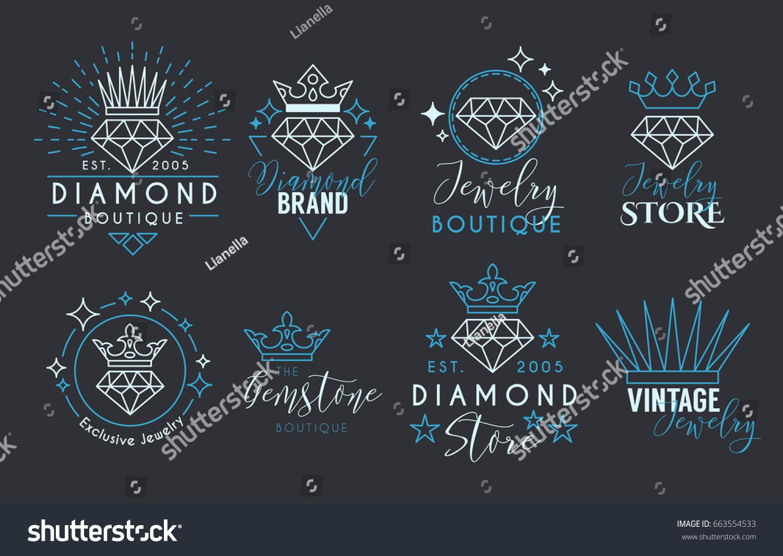 Jewelry Logo Set Label Template Jewelry Stock Vector (2018 ...