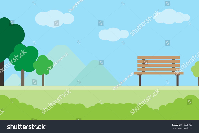Town Landscape Vector Illustration: Simple Landscape Park Trees Bench Background Stock Vector