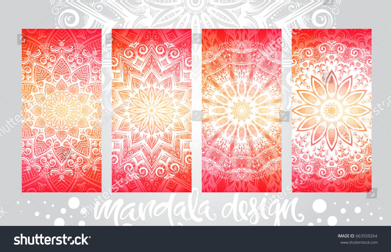 Henna Mehndi Vector : Handdrawn vector set illustration mandala ornament stock