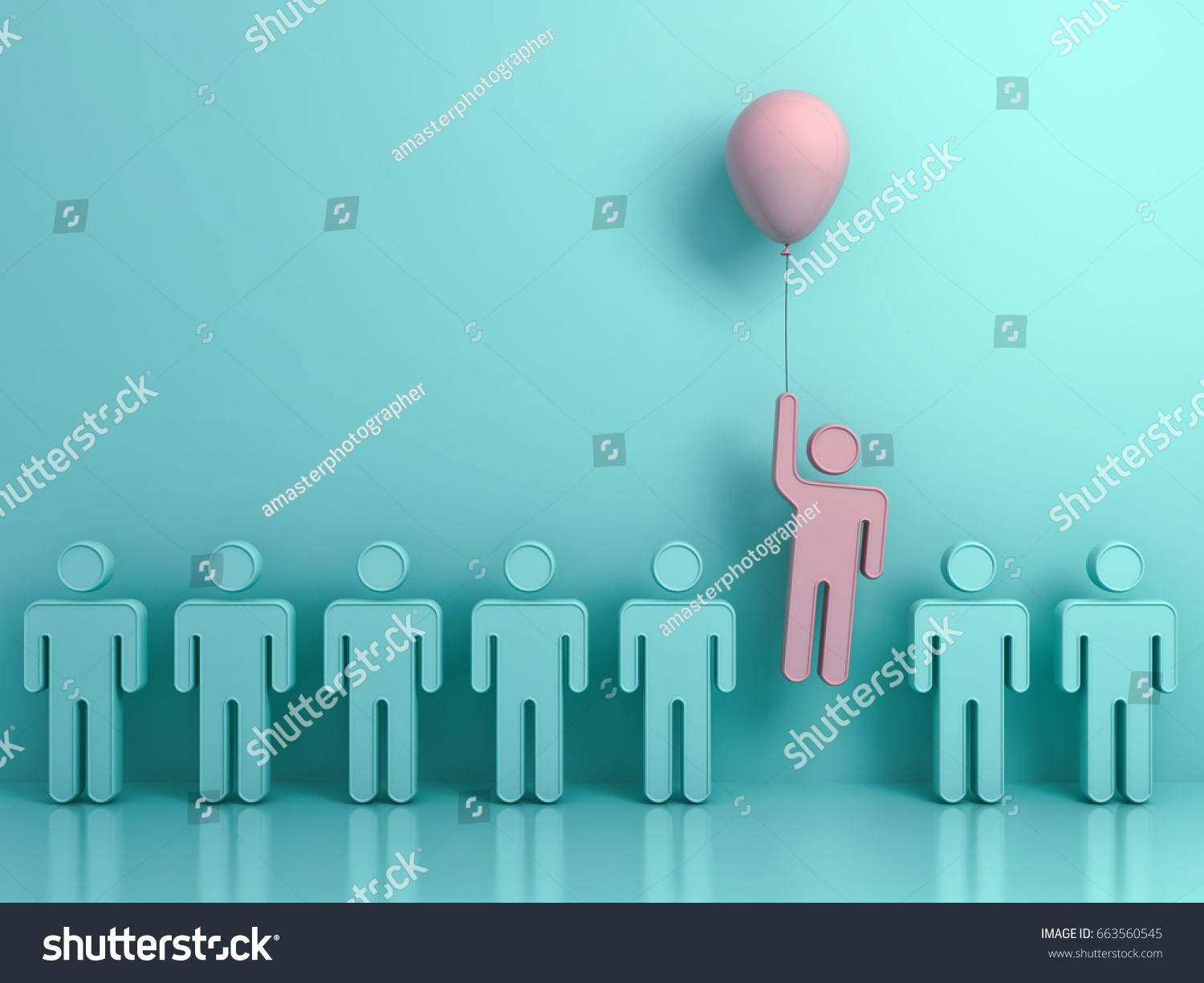 Men holding the word party concept 3d illustration stock photo - Stand Out From The Crowd And Different Concept One Man Flying Upward With Pink Balloon
