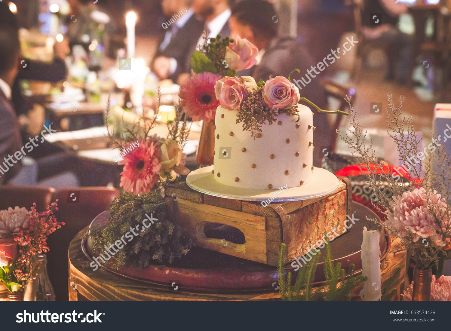 Small Simple White Wedding Cake On Stock Photo Edit Now 663574429