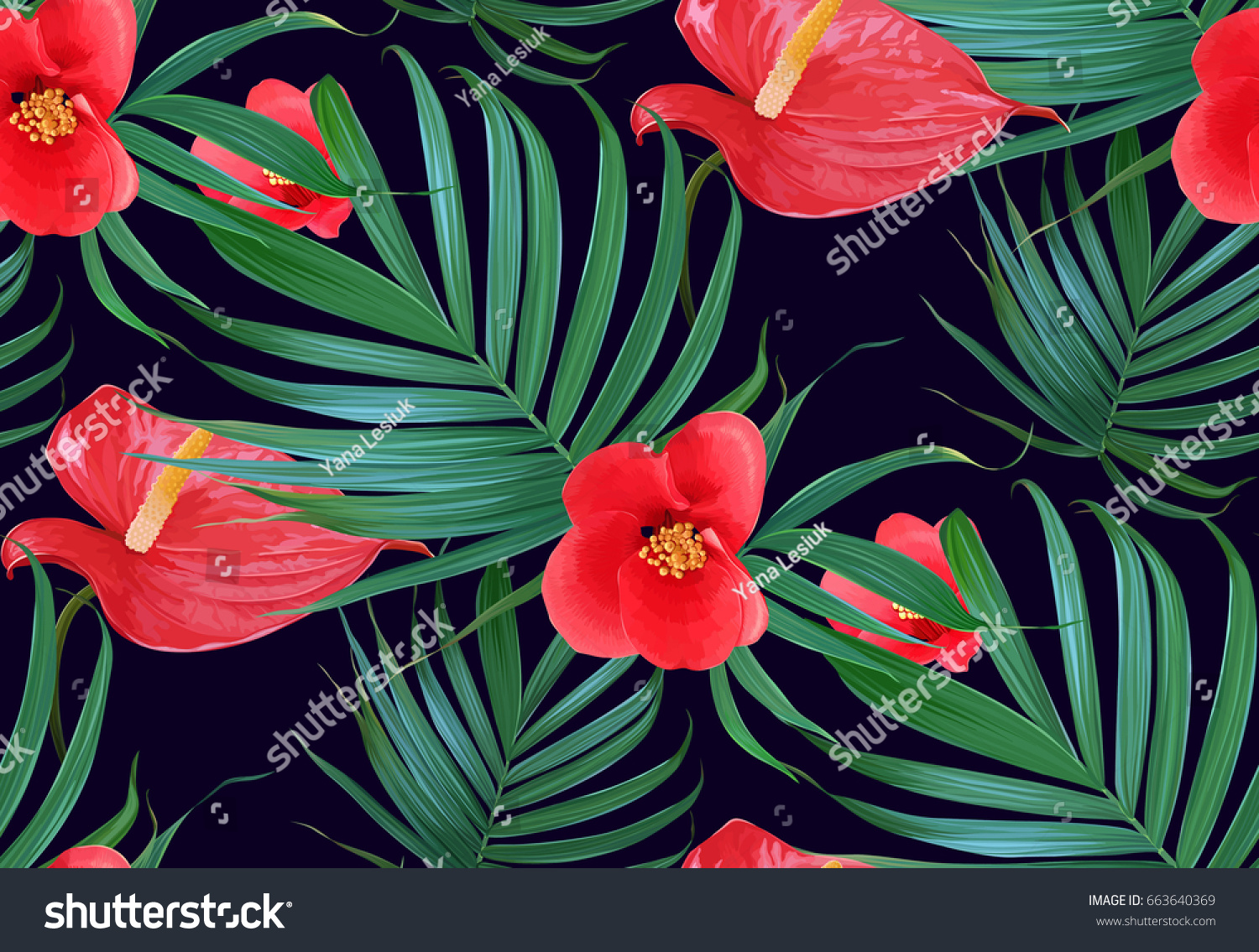 Vector tropical flowers palm leaves seamless stock vector 663640369 vector tropical flowers and palm leaves seamless pattern floral exotic hawaiian background blooming elements izmirmasajfo