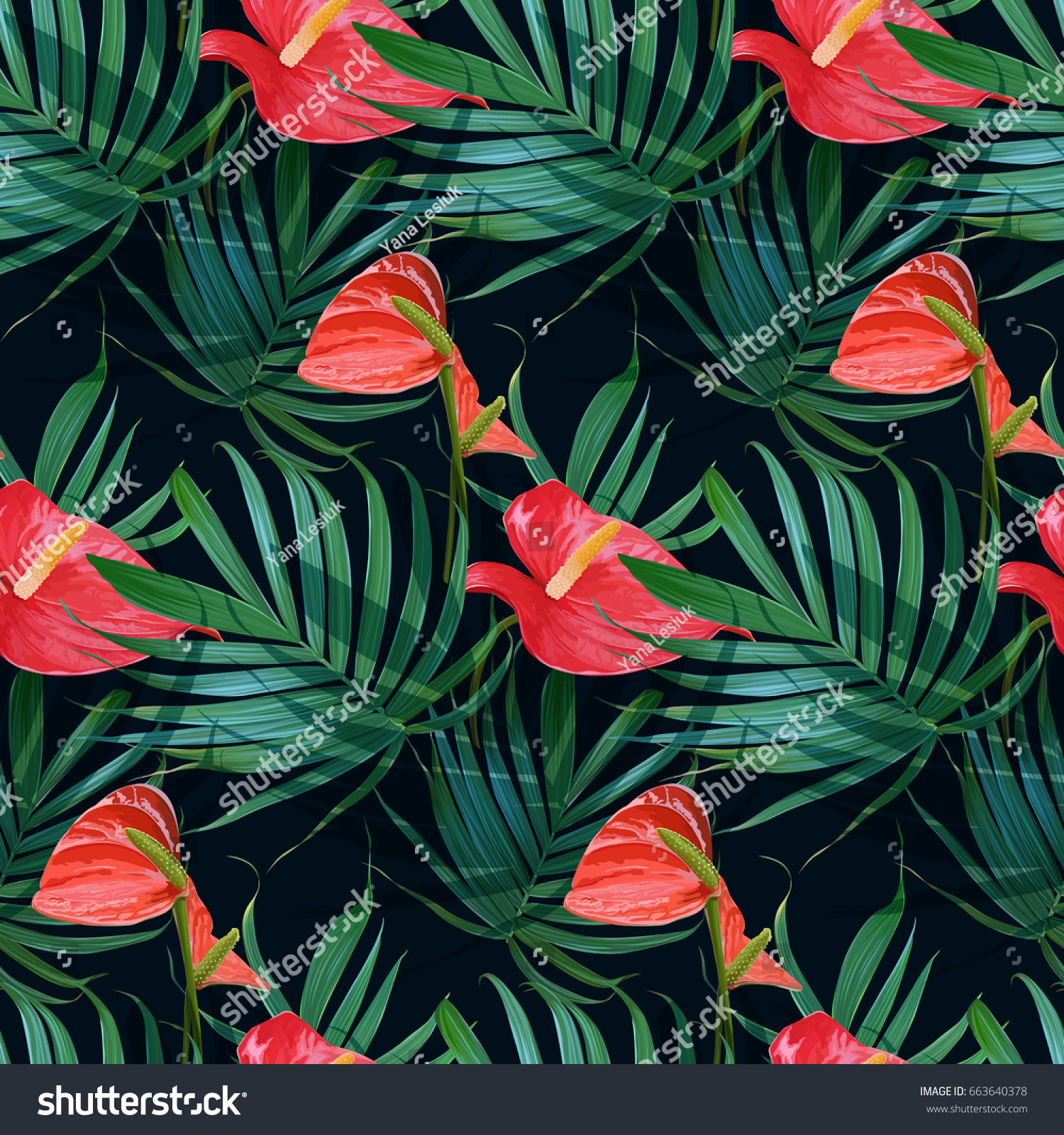 Vector tropical flowers palm leaves seamless stock vector 663640378 vector tropical flowers and palm leaves seamless pattern floral exotic hawaiian background blooming elements izmirmasajfo