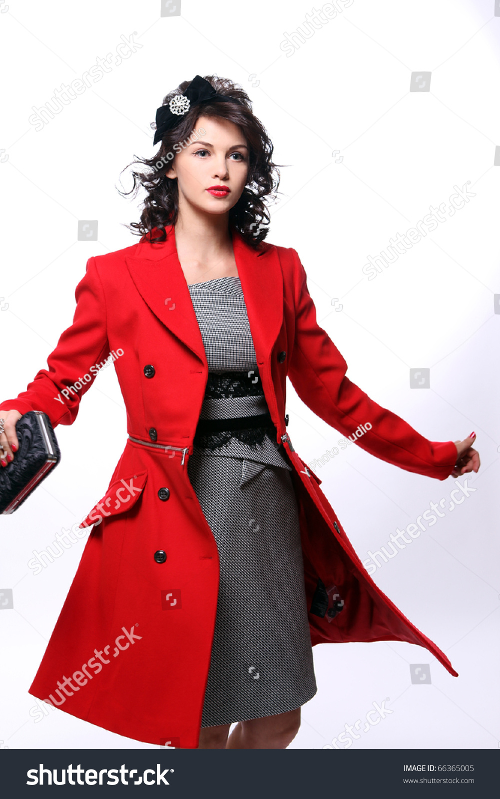 Beautiful Young Woman Red Coat Posing Stock Photo 66365005