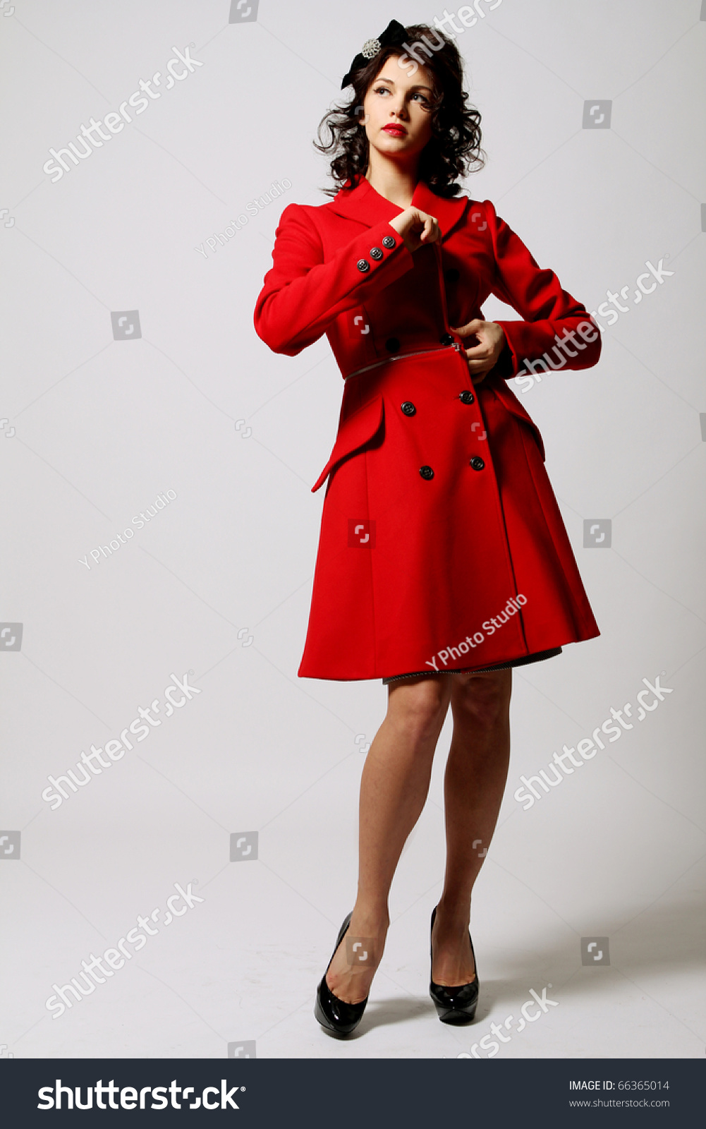 Beautiful Young Woman Red Coat Posing Stock Photo 66365014