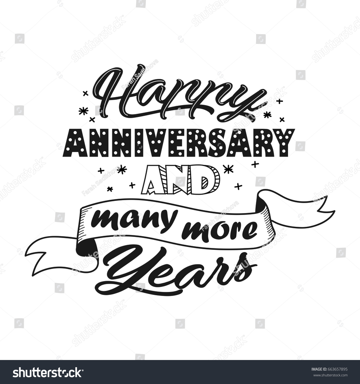 happy anniversary and many more years beautiful hand lettering greeting quote vector illustration