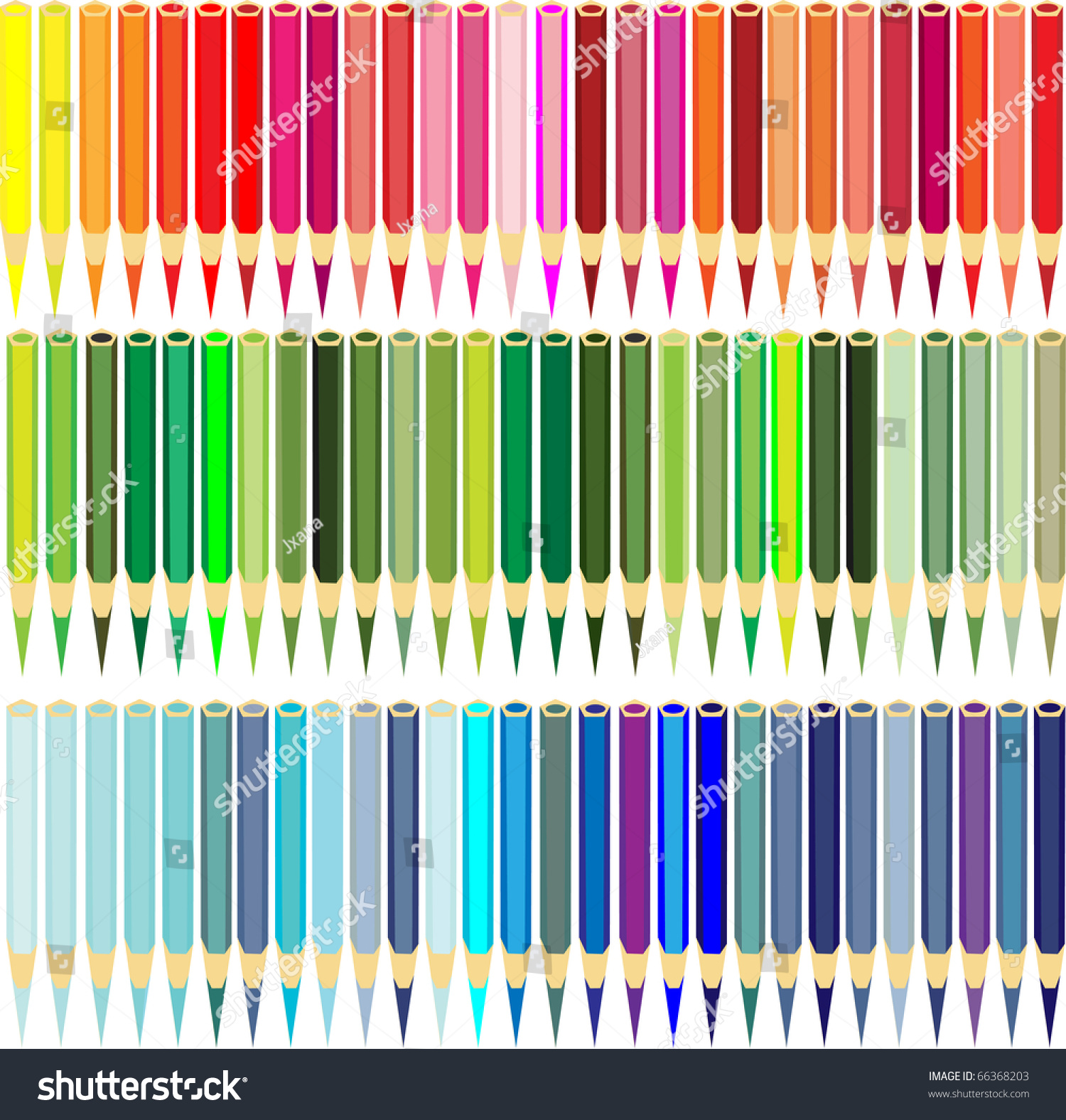 Collection Of Color Pencils All Shades Red, Dark Blue And