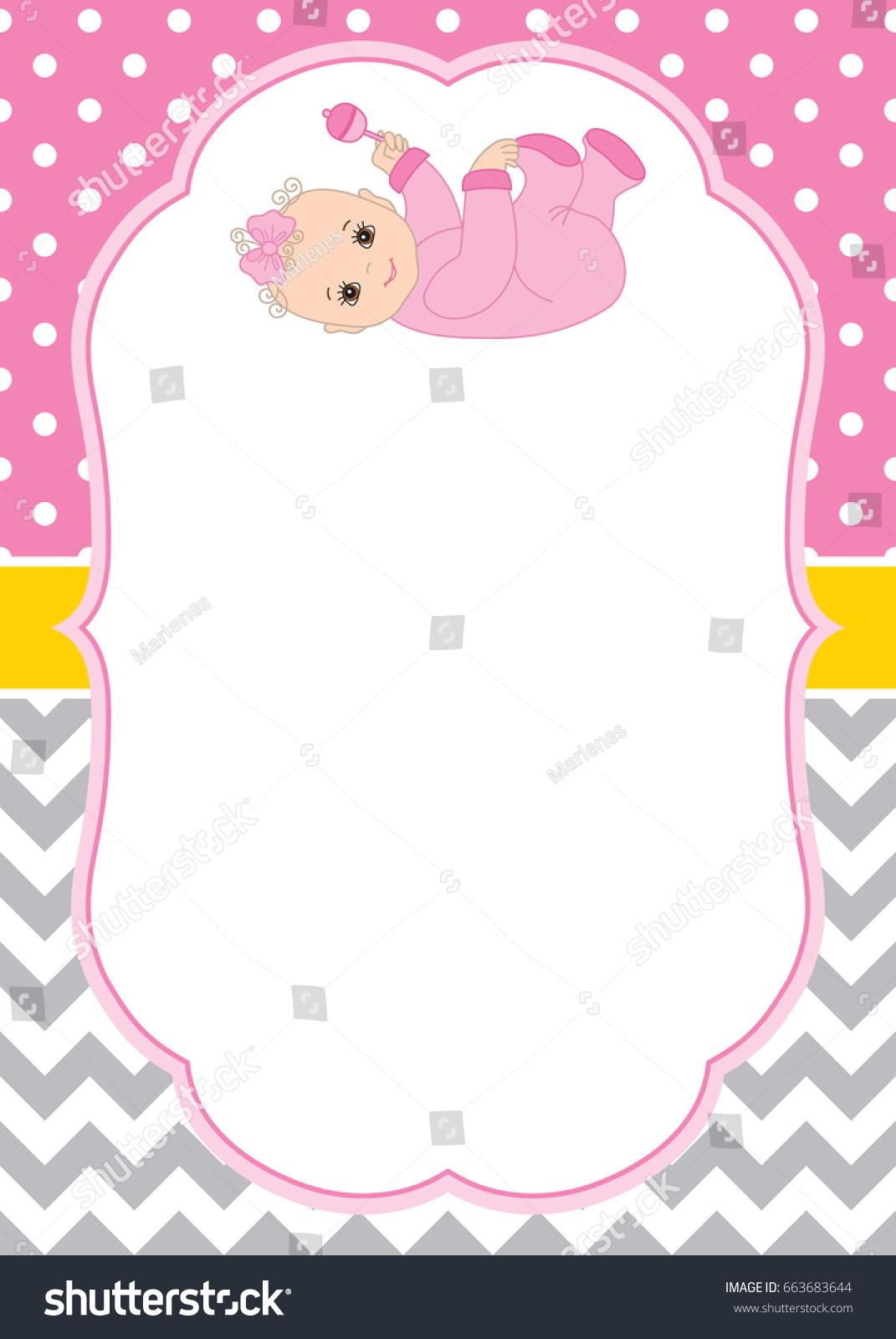 vector card template cute baby girl stock vector royalty free