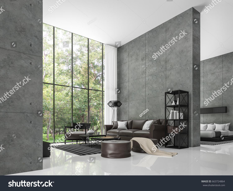Modern loft living room bedroom 3d stock illustration for Modern loft living room