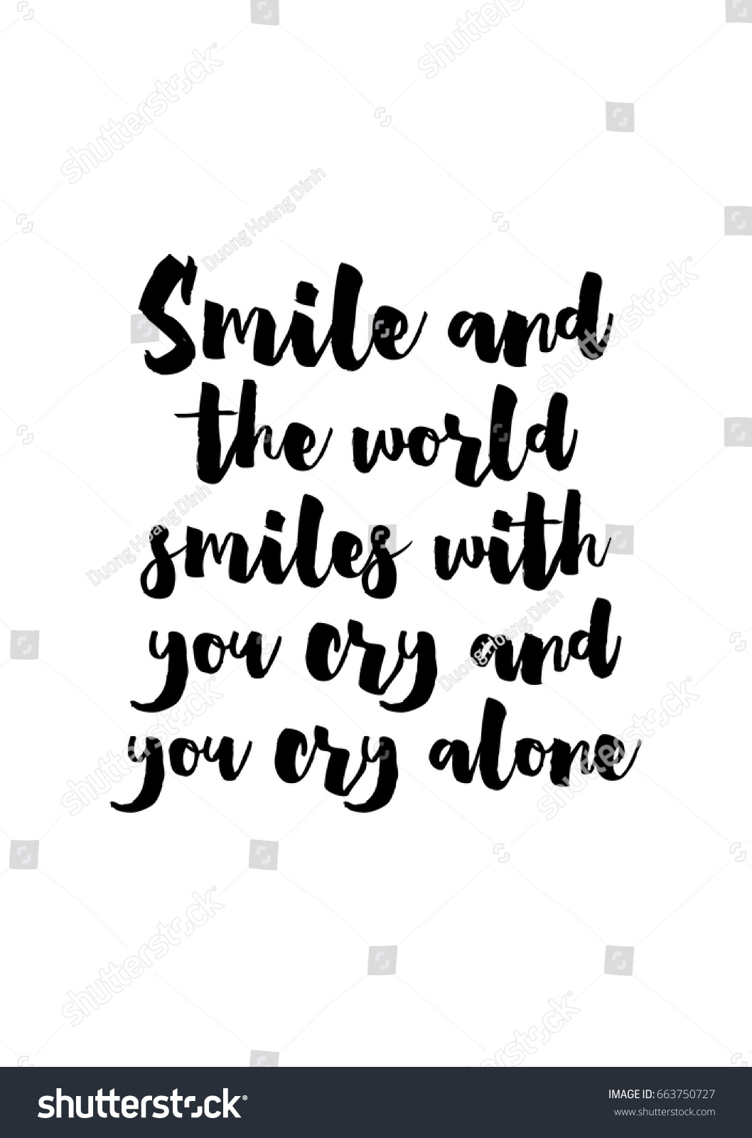 Quotes About Smiles Lettering Quotes Motivation About Life Quote Stock Vector