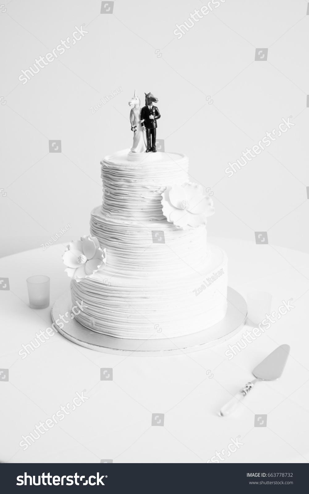 Black White Photograph Wedding Cake Fun Stock Photo Edit Now