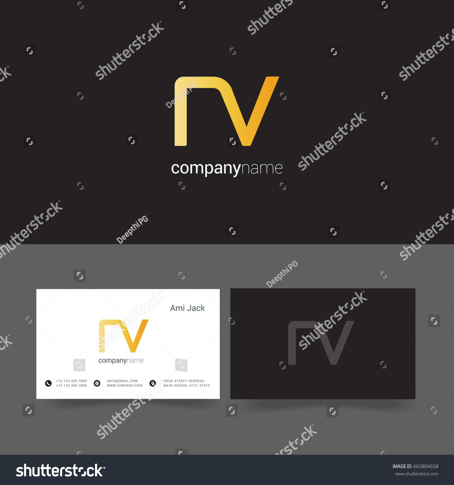 N v joint logo letter design stock vector hd royalty free n v joint logo letter design with business card template altavistaventures Gallery