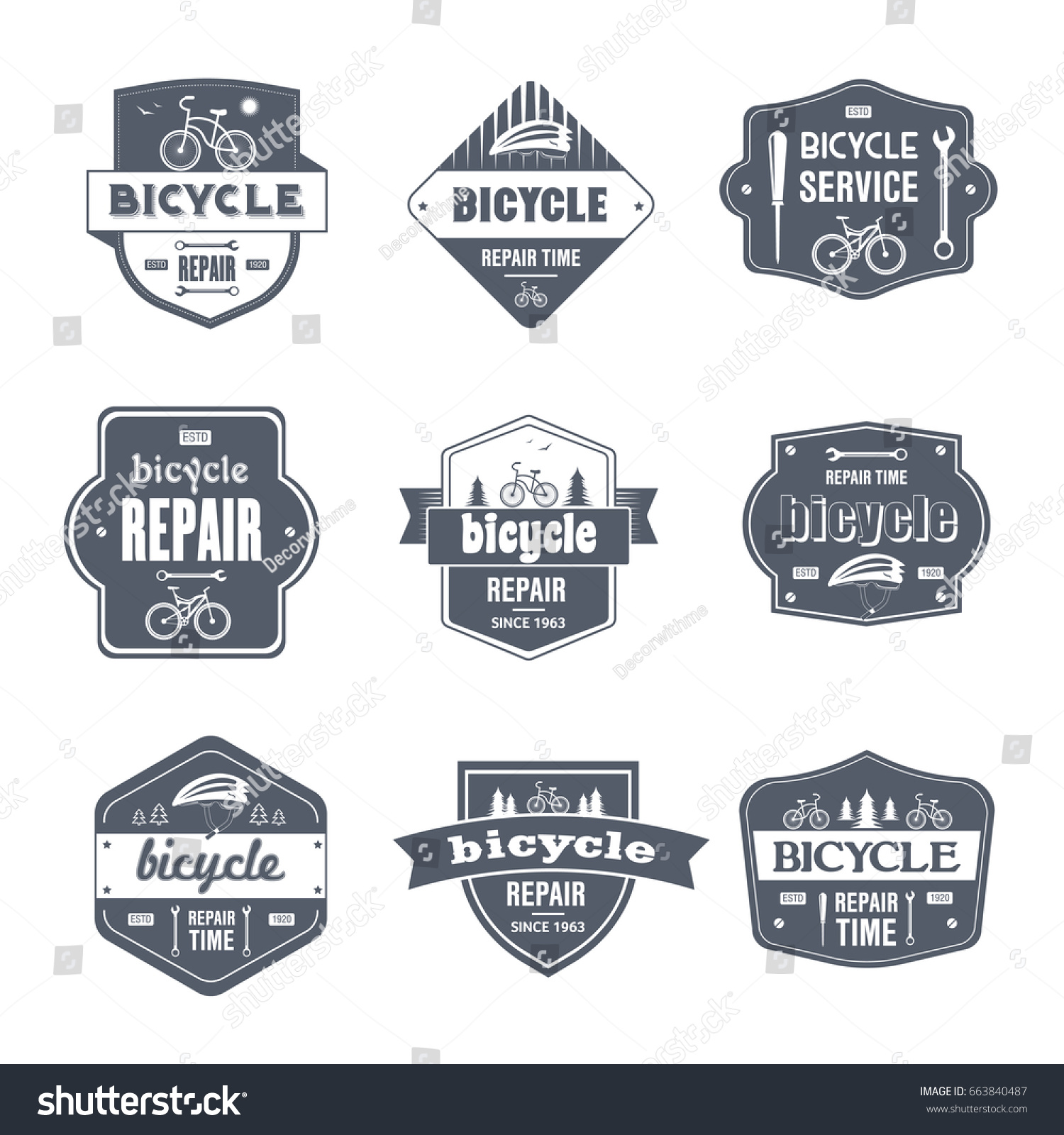 Bicycle repair vector set vintage template stock vector 663840487 bicycle repair vector set of vintage template logo insignias old fashion style emblems biocorpaavc Images