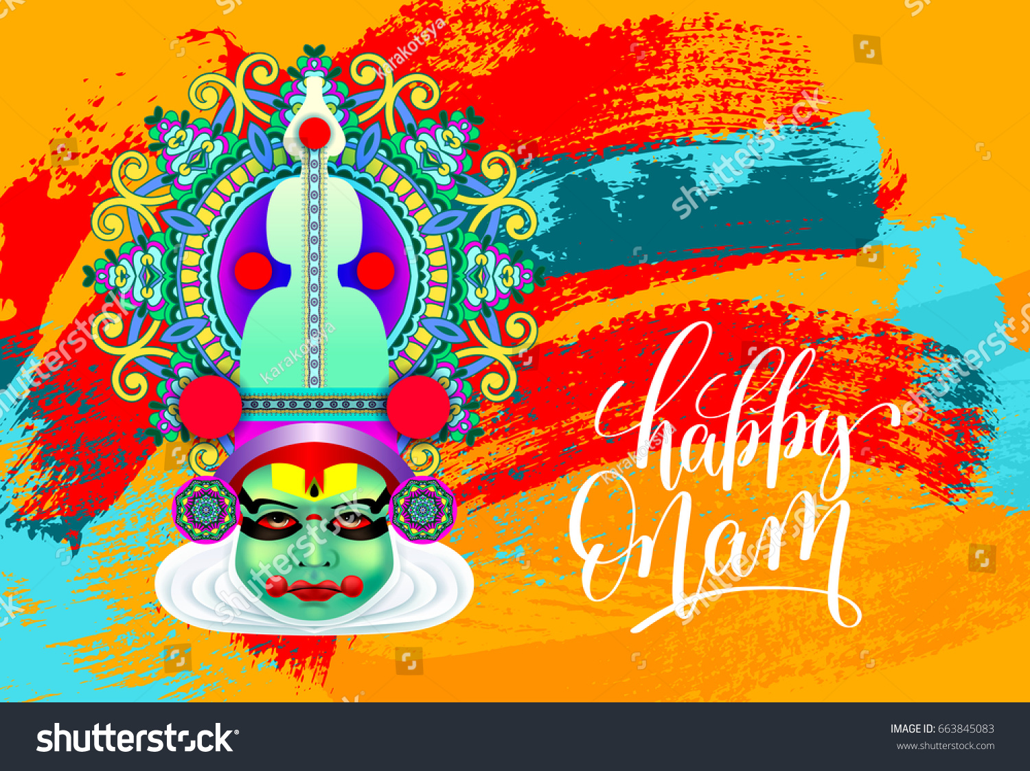 Happy Onam Greeting Card With Indian Kathakali Dancer Face And
