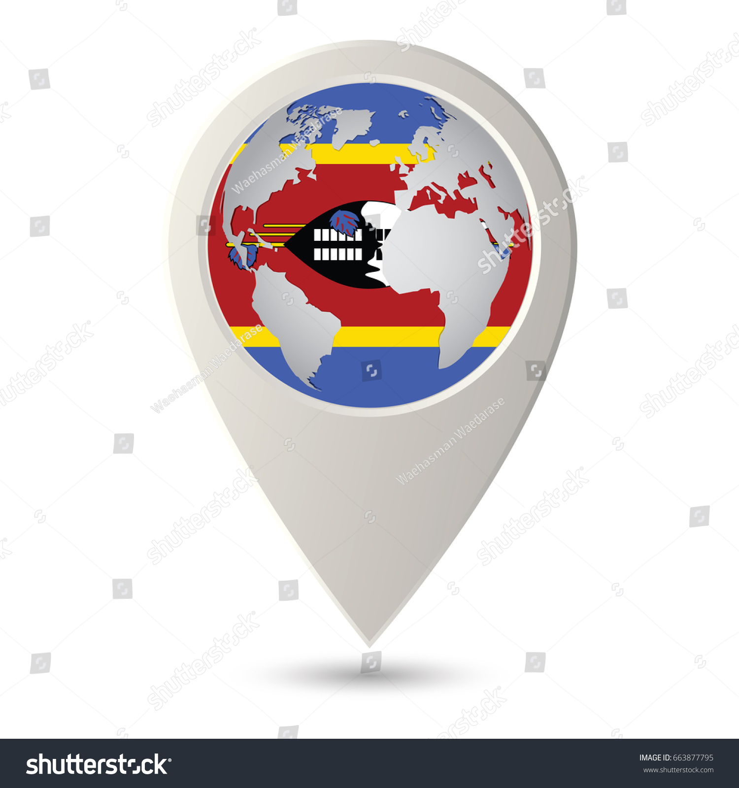Swaziland Flag Location Map Icon Check Stock Vector 663877795