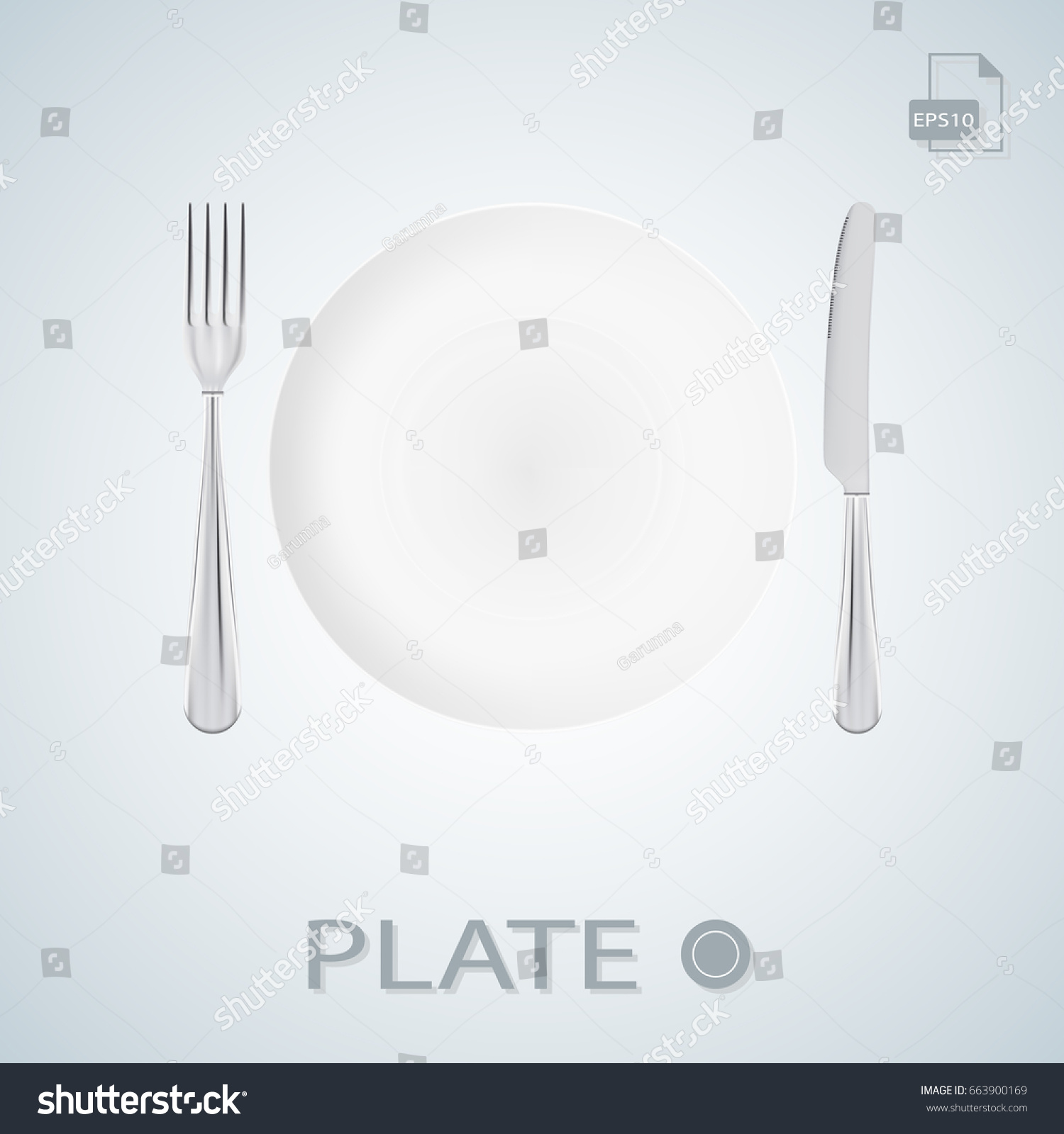 Plate with fork and knife white. Table setting. Vector illustration  sc 1 st  Shutterstock & Plate Fork Knife White Table Setting Stock Photo (Photo Vector ...