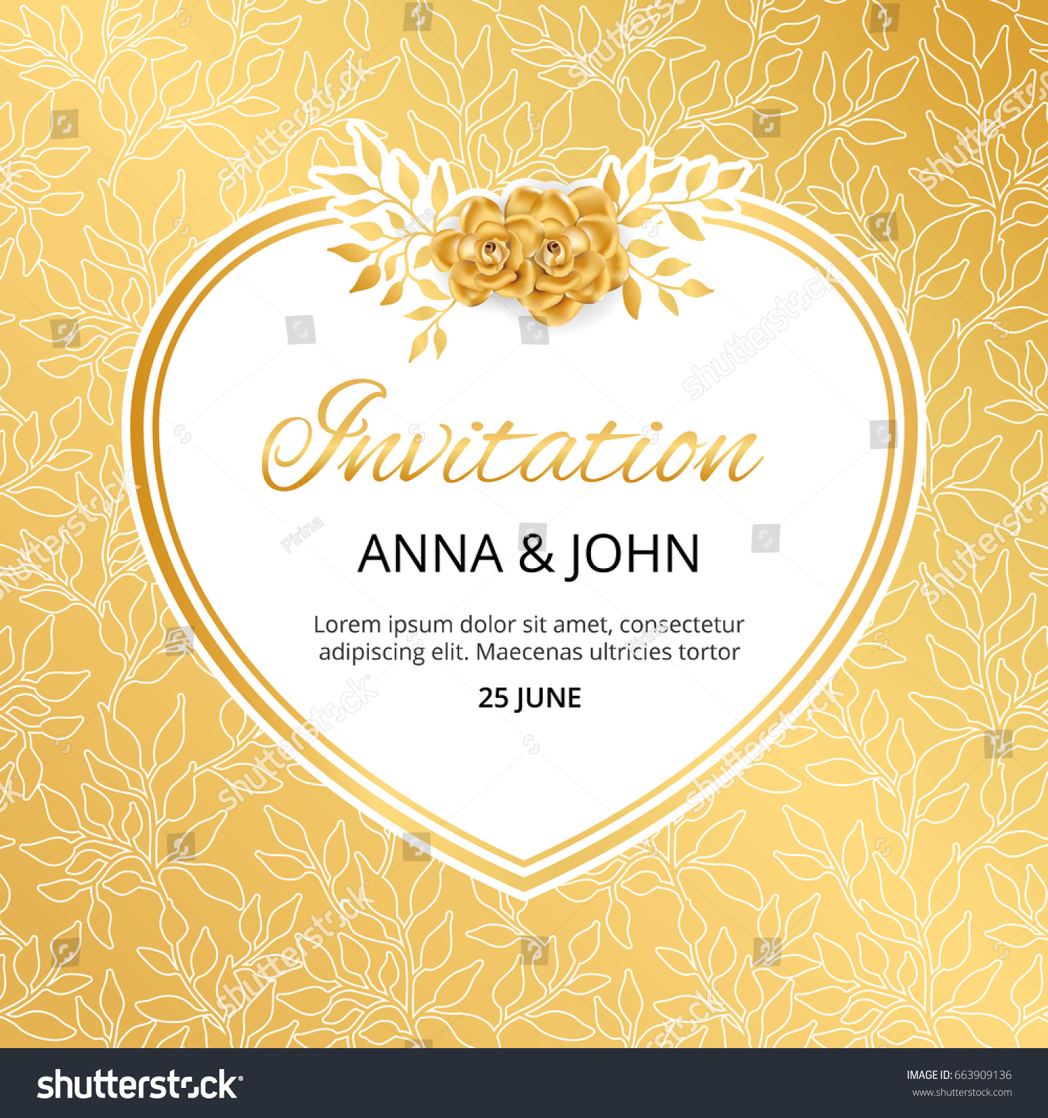 Gold Flower Wedding Heart Invitation Weddings Stock Vector Royalty