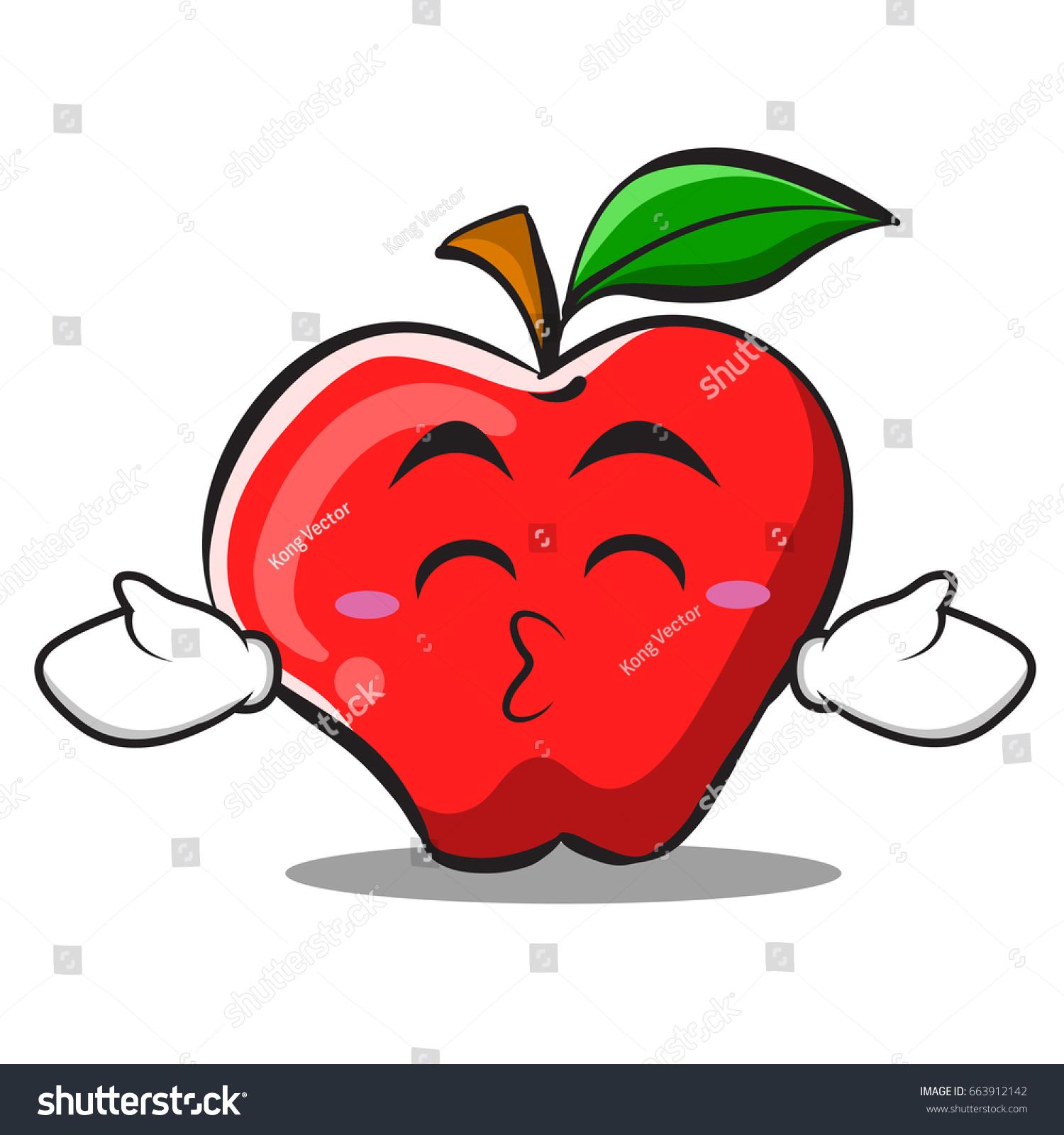Apple Character Design : Kissing closed eyes apple cartoon character stock vector