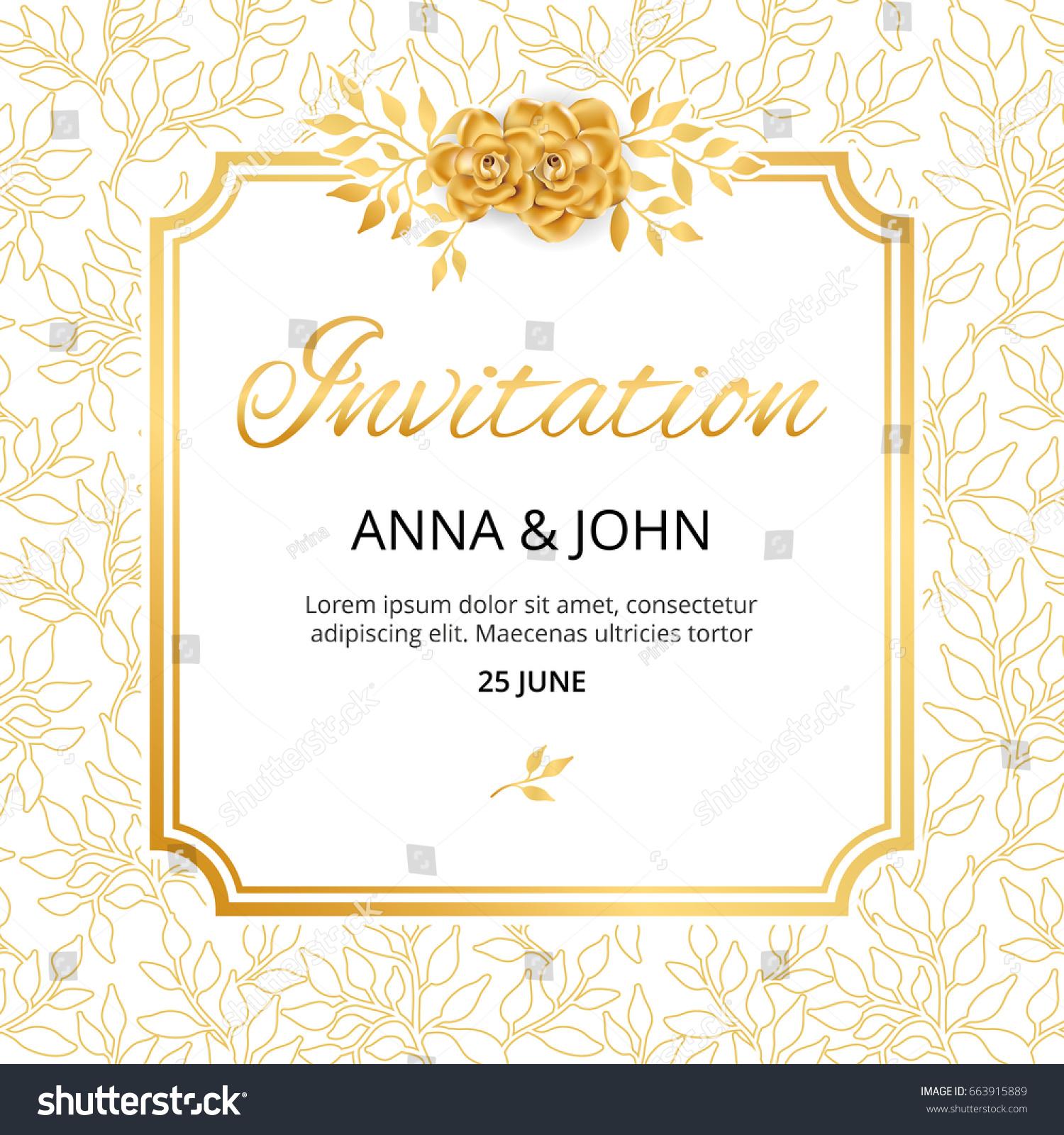 Gold Flower Wedding Paper Invitation Weddings Stock Vector 663915889 ...