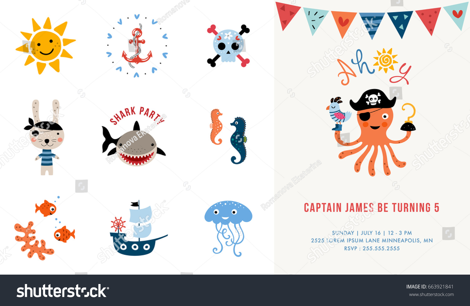 Pirate birthday invitation vector illustration stock vector pirate birthday invitation vector illustration stopboris