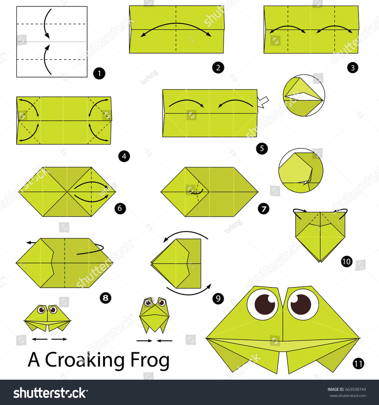 Step by step instructions how make stock vector 663938749 step by step instructions how to make origami a frog jeuxipadfo Images