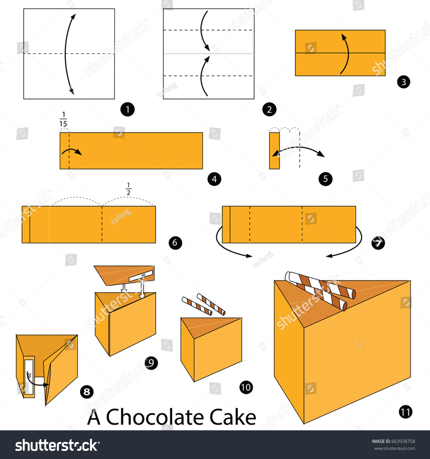 Step By Instructions How To Make Origami A Chocolate Cake