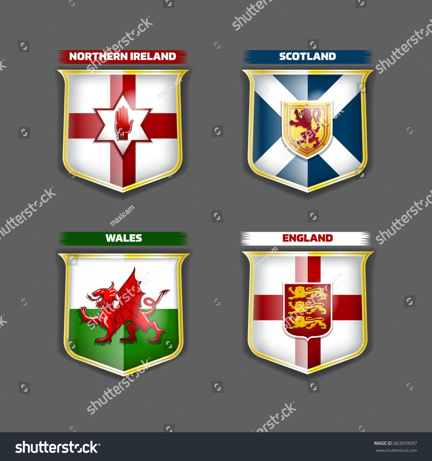 Vector flags coats arms england scotland stock vector 663939097 vector flags and coats of arms of england scotland wales northern ireland on the shields buycottarizona