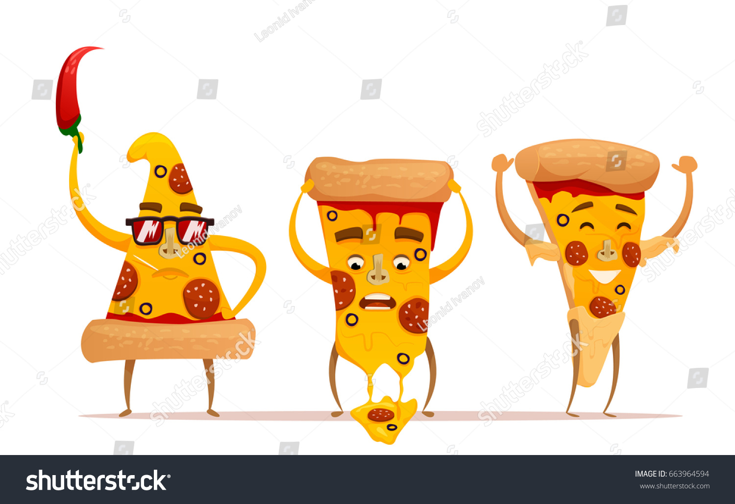 Funny Pizza Slice Cute Pizza Character Stock Vector HD (Royalty Free ...