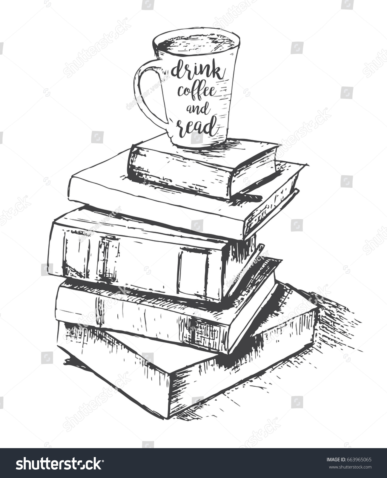 Sketch Drawing Cup Books Drink Read Stock Illustration Royalty