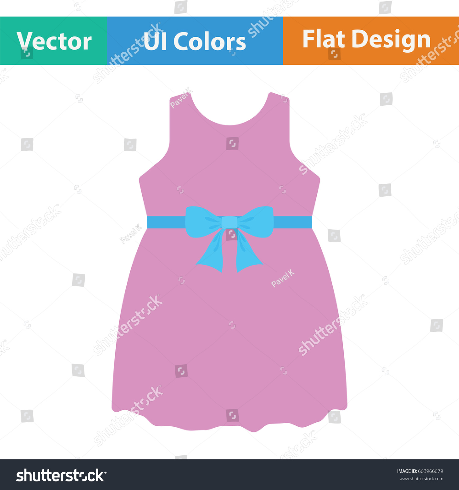 Baby Girl Dress Icon Flat Color Stock Vector Shutterstock