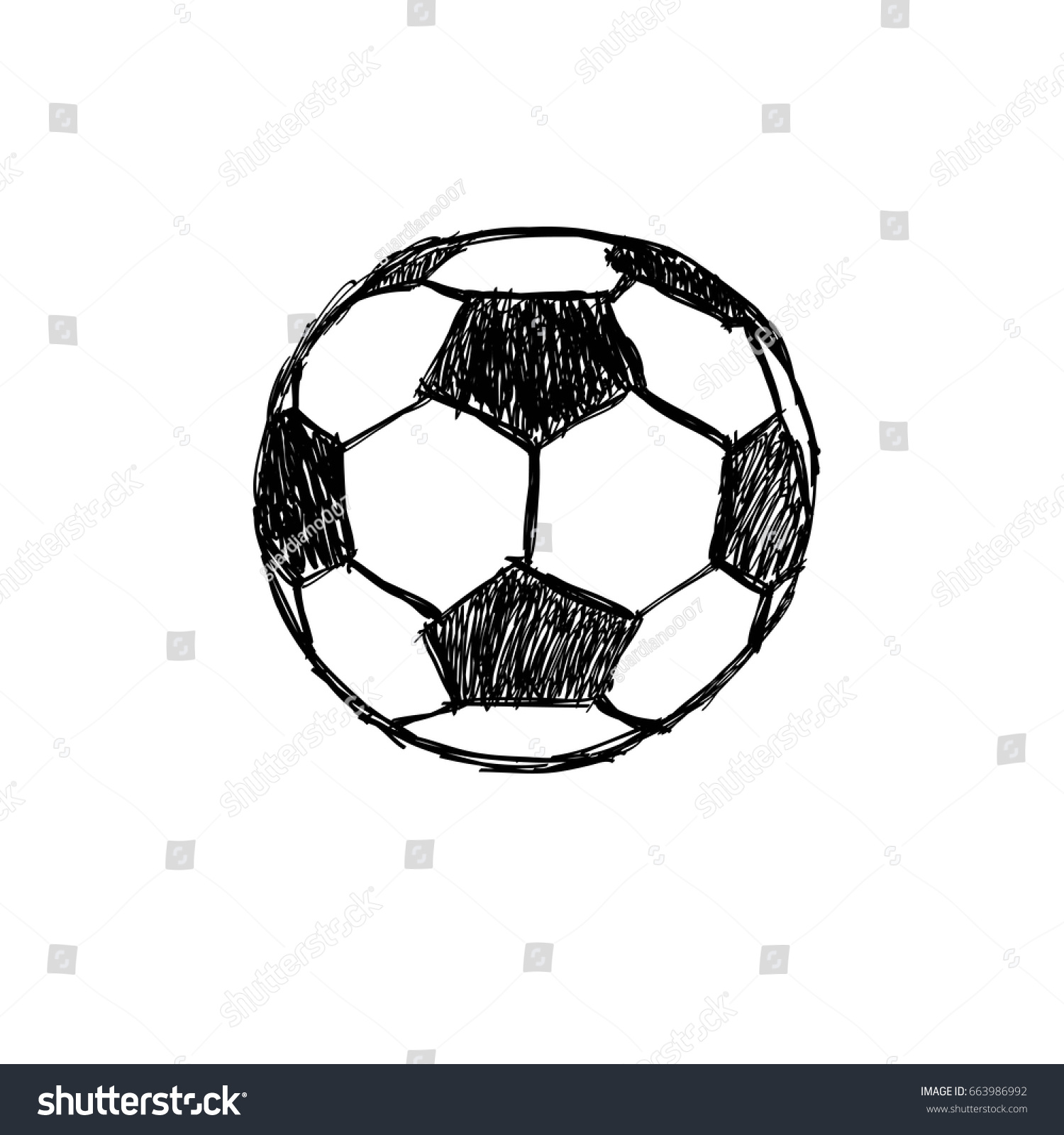 Football Soccer Ball Drawing Vector Stock Vector Royalty Free 663986992