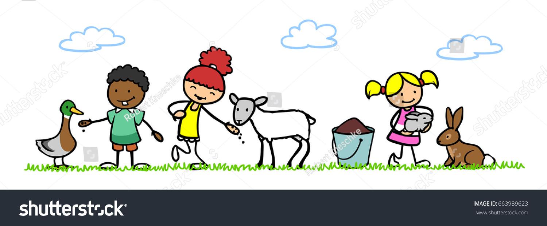 Royalty Free Stock Illustration Of Three Happy Cartoon Children Pet