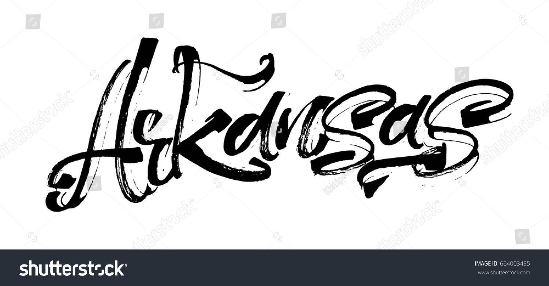 Arkansas modern calligraphy hand lettering silk stock
