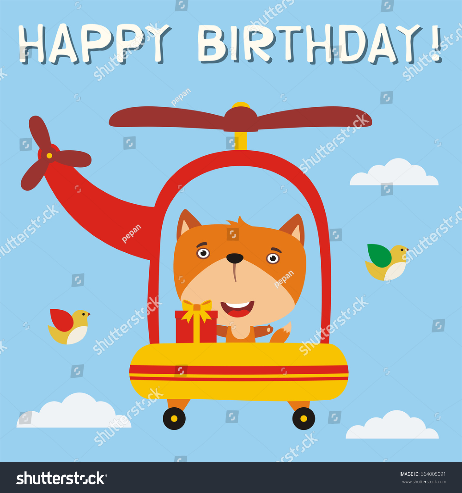 Happy birthday funny fox birthday gift stock vector 664005091 happy birthday funny fox with birthday gift flying on helicopter birthday card with fox negle Image collections