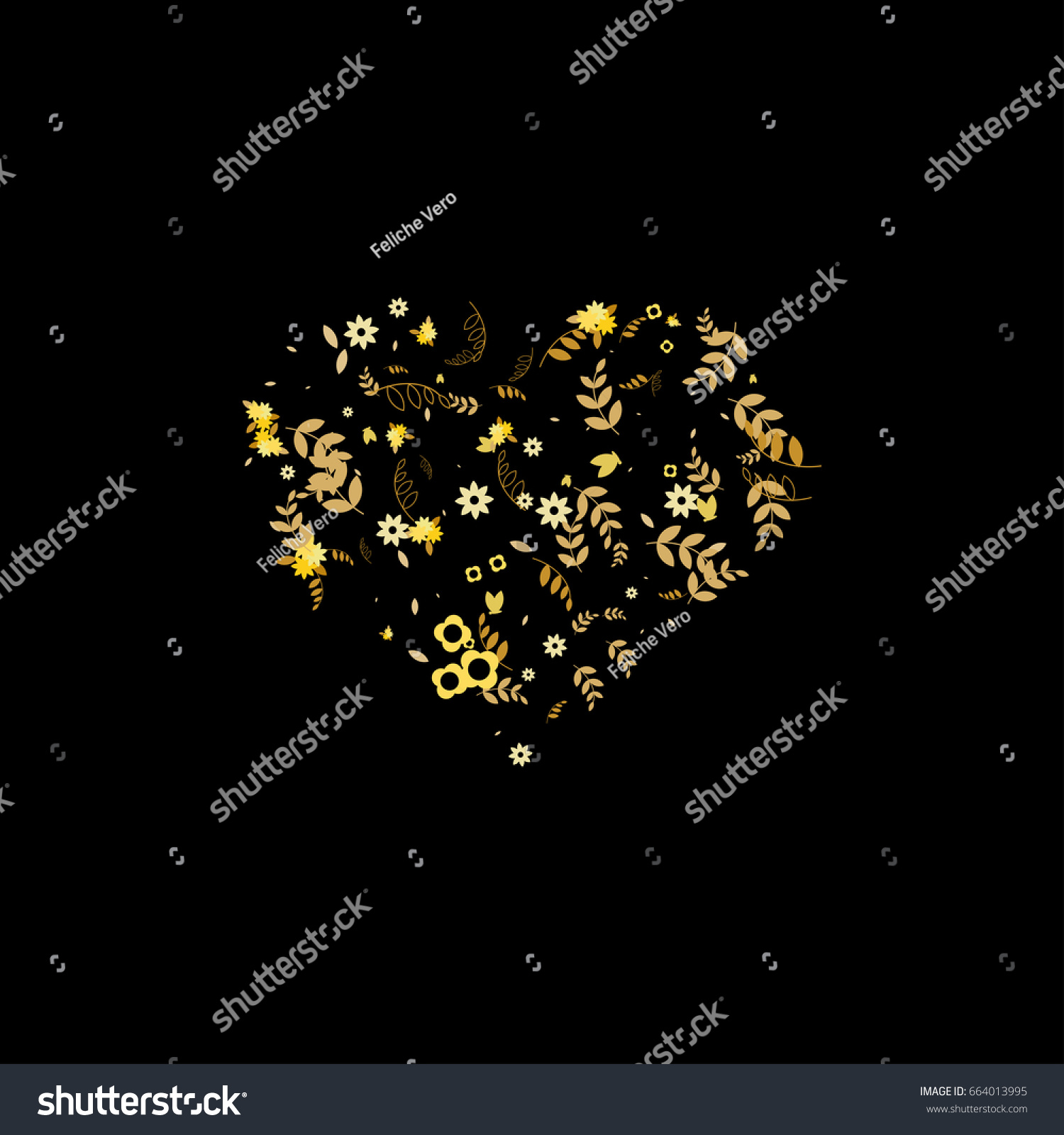 Floral vector heart symbol made little stock vector 664013995 floral vector heart symbol made of little cute flowers leaves branches on black background buycottarizona Images