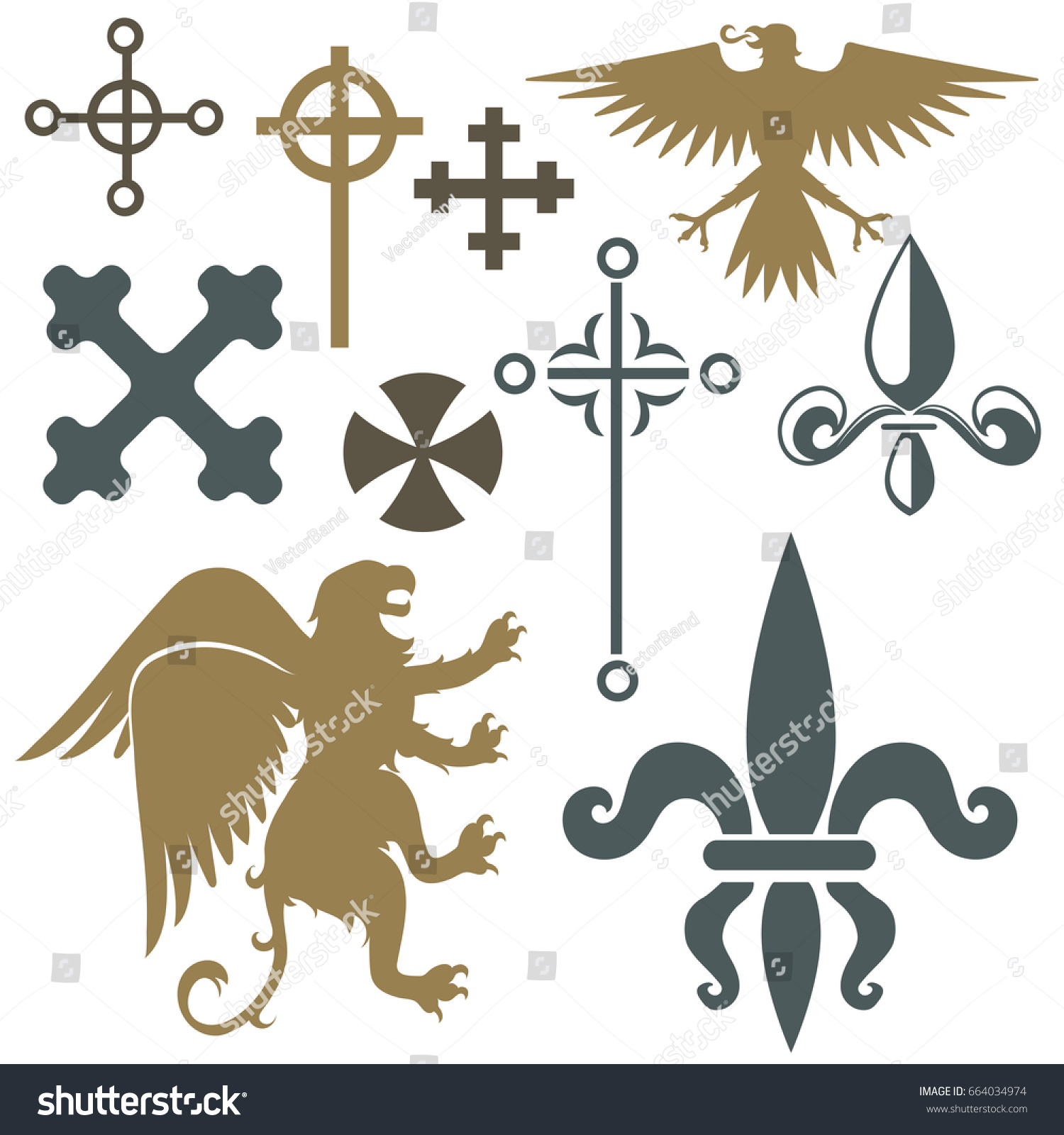 Heraldic Royal Crest Medieval Knight Elements Stock Vector Royalty