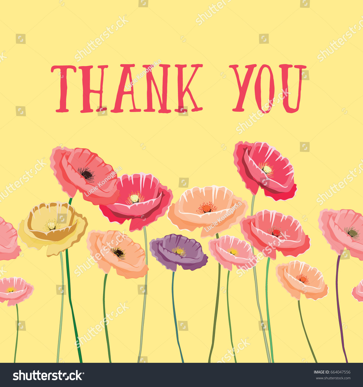 Thank you greeting card colorful poppies stock vector 664047556 thank you greeting card with colorful poppies on yellow background vector illustration of romantic kristyandbryce Images