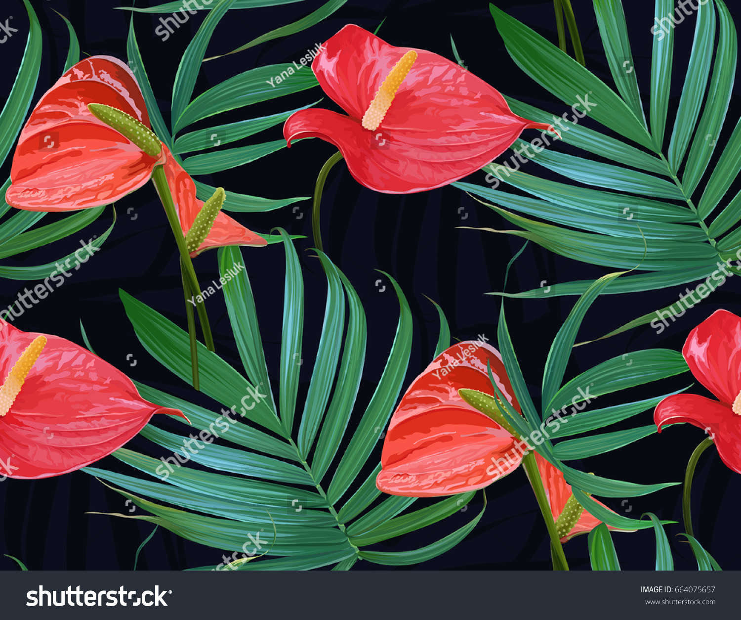 Vector tropical flowers palm leaves seamless stock vector 664075657 vector tropical flowers and palm leaves seamless pattern floral exotic hawaiian background blooming elements izmirmasajfo