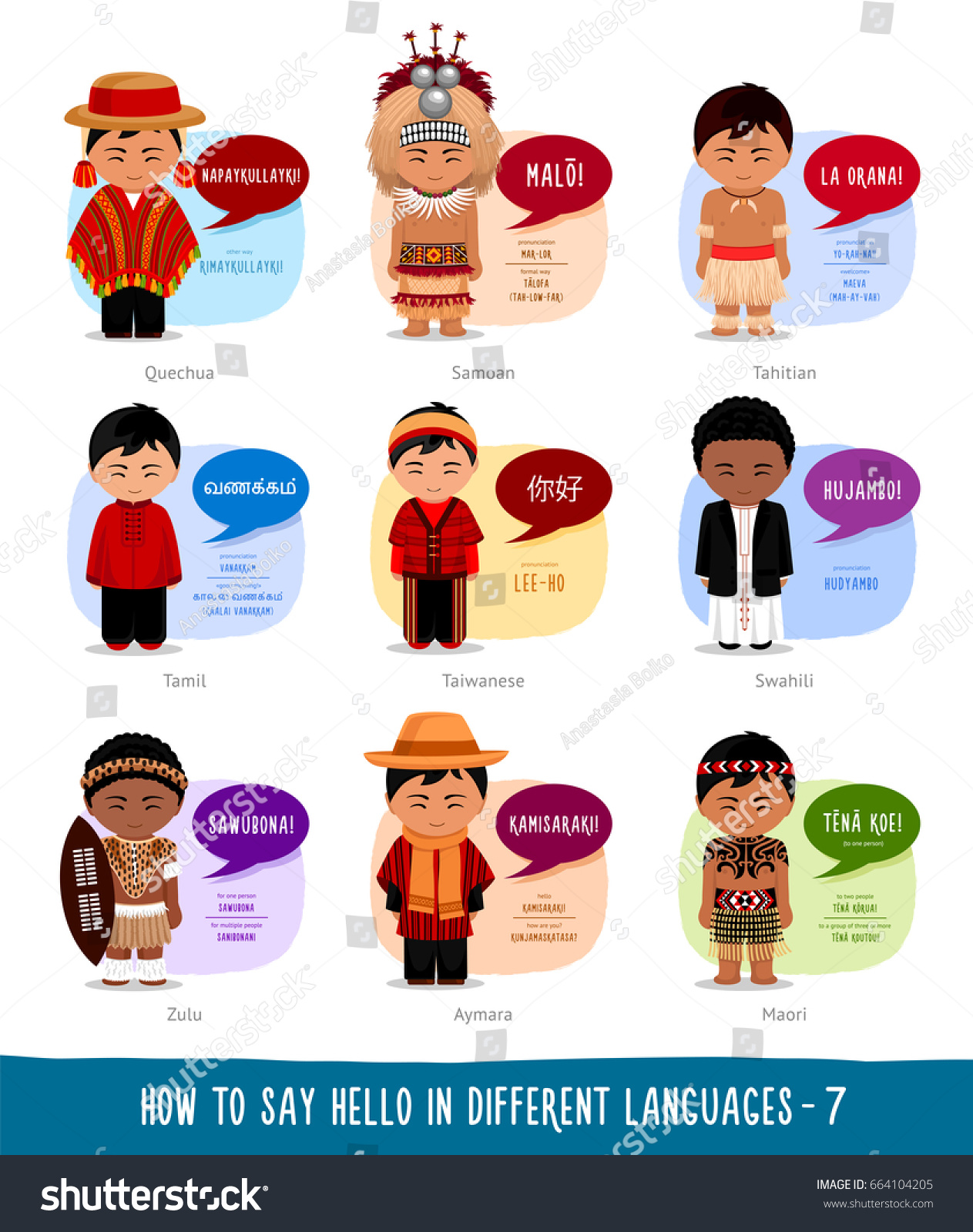 hello foreign languages quechuan aimar zulu stock vector