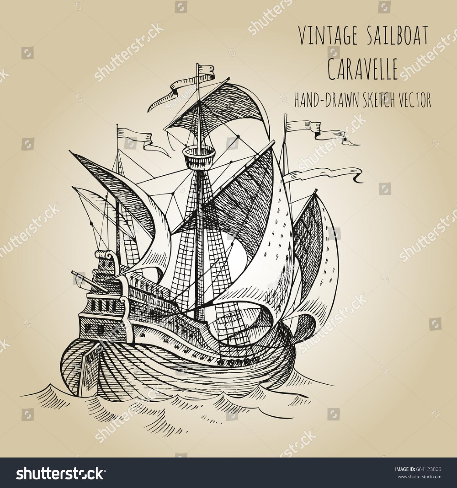 old caravel vintage sailboat hand drawn stock vector 664123006