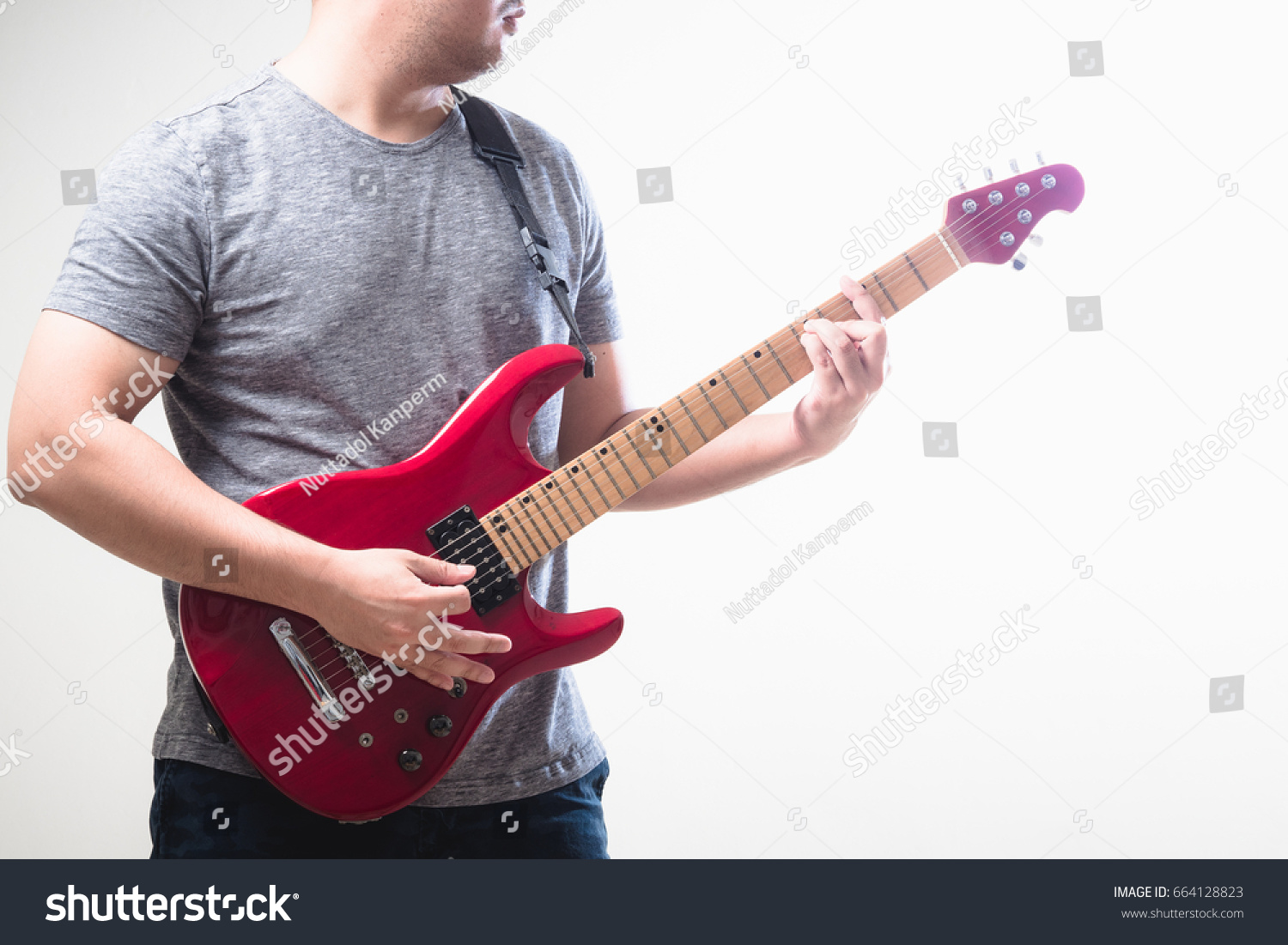 Chord Strumming Man Playing Red Electric Stock Photo Edit Now