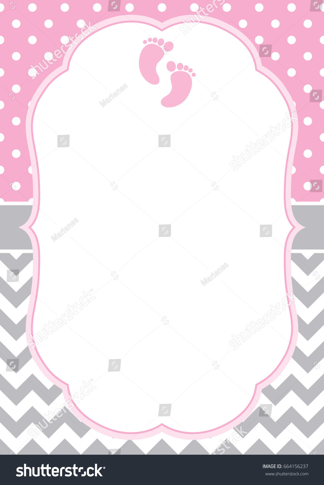vector card template baby girl footprints stock vector royalty free